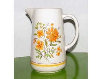 Vintage Ceramic Stoneware Milk Juice Water Pitcher with Orange & Yellow flowers, 70s, Marigolds, floral, tableware, serving