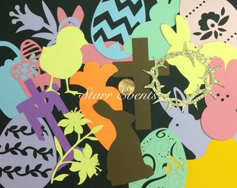 Easter decorations. Set of 25 Easter die cuts. Easter cut outs. Easter decor Easter eggs Easter bunny cut outs Bulletin board decor