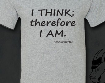 Philosophy Tshirt, Philosophy, Descartes, Literary Gifts, Inspirational, Socrates, Aristotle, Plato, Literature, Gift for Reader, Tshirt