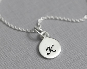 Sterling Silver Initial Necklace, Initial Charm Necklace, Bridesmaid Necklace, Flower Girl Necklace, Gift for Her, Girlfriend Gift