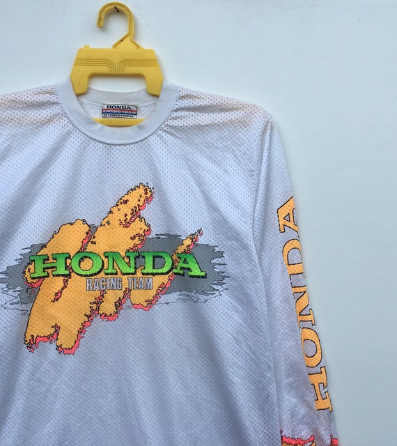 Sleeve 80s Made Honda Team Colourful Motocross In Vintage Honda Long Japan Racing p14qApSw