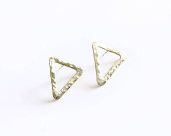 Malkia Triangle Stud Earrings  |  geometric earrings hammered brass studs fair trade jewelry handmade