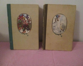 Vintage Antique Andersen's Fairy Tales and Grimm's Fairy Tales  Illustrated Junior Library Two Volume Set Illustrated by Kredel and Syzck