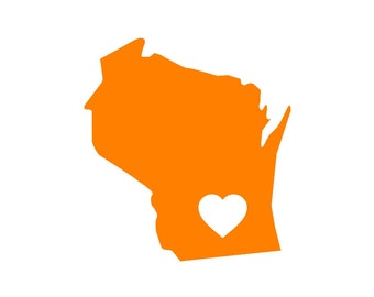 Wisconsin Love Custom Die Cut Vinyl Decal Sticker - Choose your Color and Size