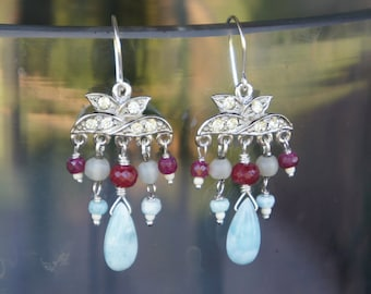 Antique Assemblage Rhinestone Chandelier Earrings with Larimar and Rubies