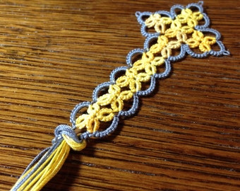 Small Tatted Cross Bookmark handmade light gray and yellow variegated