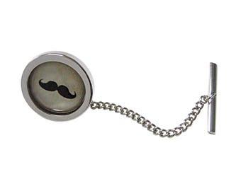 Circular Hipster Mustache Design Tie Tack
