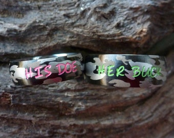 Camouflage Matching couples rings Camo rings Couples Rings