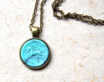Unicorn Necklace - Vintage unicorn pendant - Choose from turquoise or coral unicorn