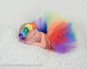 Rainbow tutu - rainbow baby tutu - rainbow headband - infant loss - rainbow hair band - photo props - rainbow baby headband - colorful