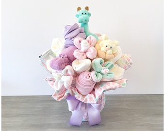 Baby Girl Gift Basket - Washcloth Bouquet - Baby Shower Gift /Bouquet for Girl