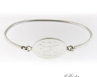 Monogrammed .925 Sterling Silver Hinged Oval Bracelet
