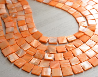 Tegan - Orange Mother of Pearl Multi Strand Statement Necklace
