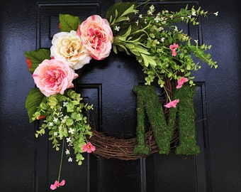 Personalized moss wreath, spring wreaths, summer door wreaths, wreath, moss monogram, monogram wreath