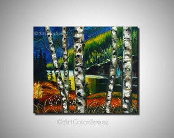 Birch tree painting Fall decor Birches art Oil painting Birches canvas art Birch painting Living room decor Forest painting