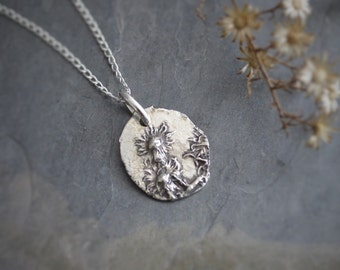 Aster Necklace, Flower Necklace, Botanical Necklace, Plant Necklace, Nature Necklace, Raw Sterling Silver, Prairie Flower Necklace