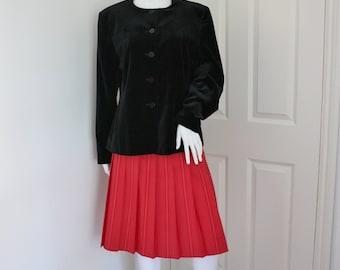 Black velvet jacket - women's blazer - velveteen jacket - velour blazer - collarless jacket -  steampunk style - goth