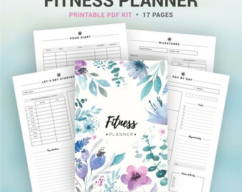 FITNESS PLANNER, printable planner, health planner, fitness journal, food diary, weight loss, diet journal... A5, A4, letter, half size