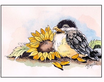 LIMITED EDITION ACEO card, run of 20, 2.5 x 3.5 inches, baby chickadee, sunflower, garden, wings, feathers,
