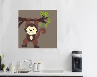 monkey artwork Monkey Art monkey painting safari creatures Nursery monkey gift canvas art monkey critter cute animal art monkey jungle art