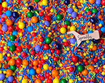 Edible Sprinkles, Birthday Sprinkles, Party Sprinkles, Sprinkles, Sprinkle Medley, Sprinkle Mix, Rainbow Sprinkles 2.5oz