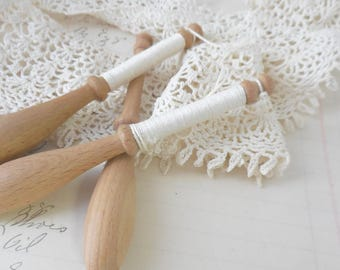 French Lace making spools set of 3,wood spools,vintage spools