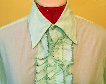 1970's Mint Green Ruffle Tuxedo Shirt