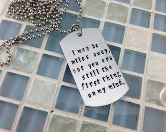 Hand stamped message dog tag - military deployment gift