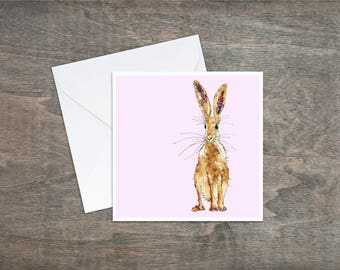 Hare, baby pink - Art Card