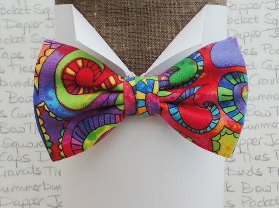 Bow tie, bow ties for men, bright bow tie, 60's bow tie, psychedelic bow tie, pre tied bow tie