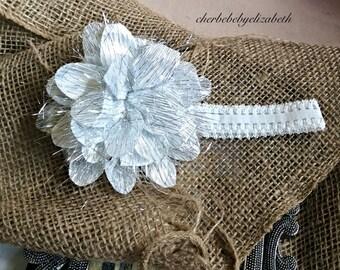 Baby headband, White sparkle flower Headband, White silver sparkle headband, shower gift