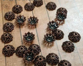 ESC-BC69: Antique Copper Bead Caps- (25pcs)