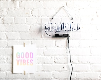 Good Vibes Art Print, Foil Stamped in Hologram, 130# Card Stock, Modern Stationery, Home Decor, Wall Decor