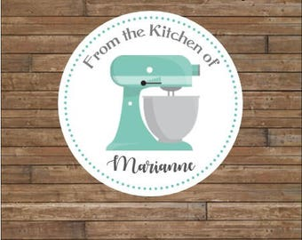 Personalized Kitchen Mixer Stickers    From the Kitchen Of Stickers      Baked Goods Stickers    Kitchen Tags    Aqua Kitchen Mixer