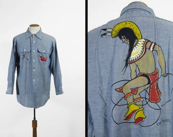 Vintage 70s Wrangler Chambray Shirt Native American Arizona Artwork - Size XL