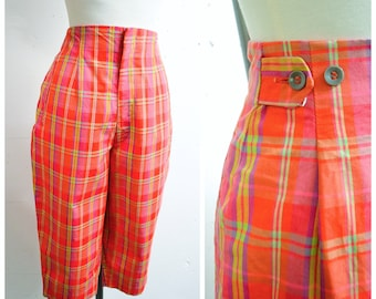1950s 60s Orange pink green check cotton clam diggers trousers / 1960s 50s checked summer Capri pants - S