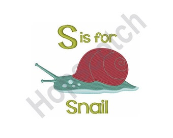 Snail - Machine Embroidery Design, S Is For Snail