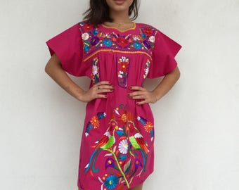 70s boho pink heavy bird embroidered Mexican dress