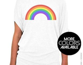 Gay Pride Shirt, Rainbow Shirt, St Patrick's Day, Womens Shirt, Off the Shoulder, Slouchy Tee, Gay Pride Top, LGBT Pride Shirt, Rainbow Tee