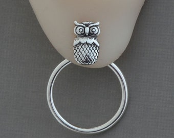 Sterling silver owl stud earrings front back hoop ear jackets owl jewelry bird earrings mix match earrings nature jewelry double sided post