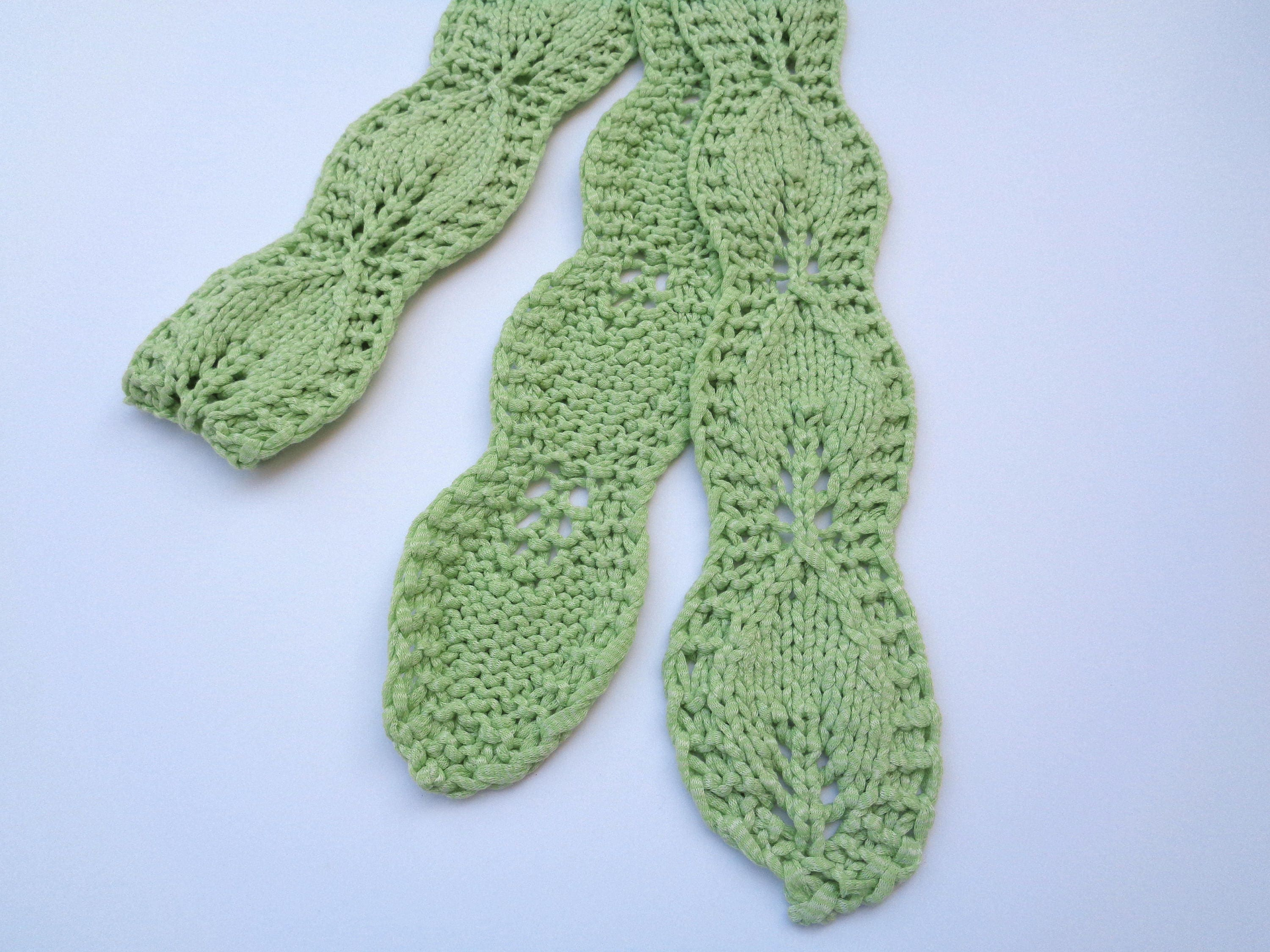Skinny Leaf Scarf Knitting Pattern, Quick Knit Pattern, Leaf Lace ...