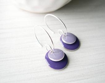Purple Earrings, Enamel Jewelry, Modern, Contemporary, Simple, Geometric, Silver Hoops, Lilac, Grape