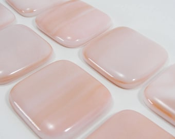 Fused Glass Knobs, Salmon Pink and White Cabinet Knobs, Dresser Drawer Knobs, Square Door Knobs, Sideboard Knobs, Hutch Knob, Furniture Knob