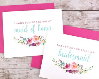 SET OF Thank You For Being My Bridesmaid Cards, Maid of Honor Cards, Flower Girl Cards, Matron of Honor Cards - (FPS0021)