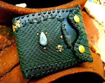 Pirate steampunk Gothic labradorite leather wallet handmade festival style