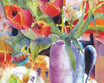 Red Tulips Bouquet Abstract Watercolor Painting Original Art  flowers vase
