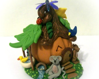 Pumpkin Mouse House Tiny Whimsy Miniature Original Sculpture Unique Fantasy Faerie House Collectible