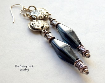 Linear Glass Bead Earrings, Extra Long Silver Earrings with Montana Blue Tube Beads, Boho Chic Jewelry