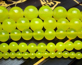 Yellow Agate Beads, Lemon Yellow Agate Gemstone Beads, Semi-precious Stone , 2 4 6 8 10 12 14mm Round Yellow Beads for DIY Jewelry (B13)
