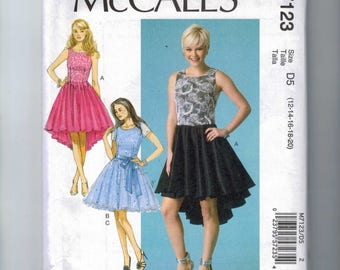 Misses Sewing Pattern McCalls M7123 7123 Misses Party Dress Sleeveless Full Skirt Hi Low Prom Size 4 6 8 10 12 14 16 18 20 UNCUT